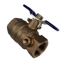 """Aqualine Lead Free Brass Backflow Ball Valve with Test Port 1"""" FPT 