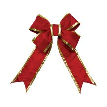 Nylon Red Bow w/Gold Trim 18 in.