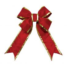 Nylon Red Bow w/Gold Trim 24 in.