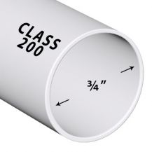 3/4 in. x 2 ft. Class 200 PVC Pipe (Sold in 2 ft. increments) | PP007-200-2FT