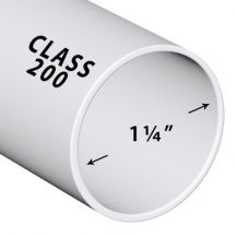 1-1/4 in. x 2 ft. Class 200 PVC Pipe (Sold in 2 ft. increments) | PP012-200-2FT