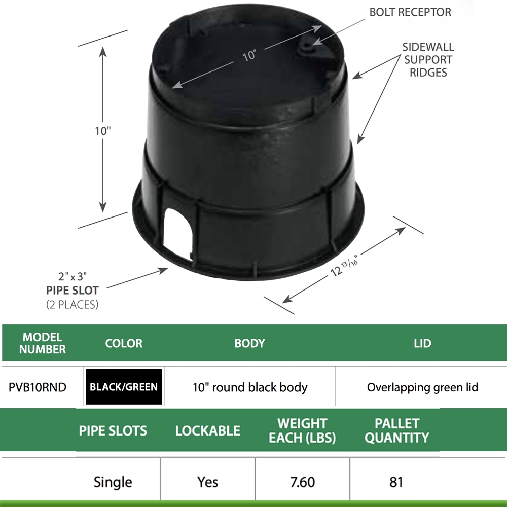 Rain Bird PVB Series PVB10RND 10 in Round Valve Box with Green Lid