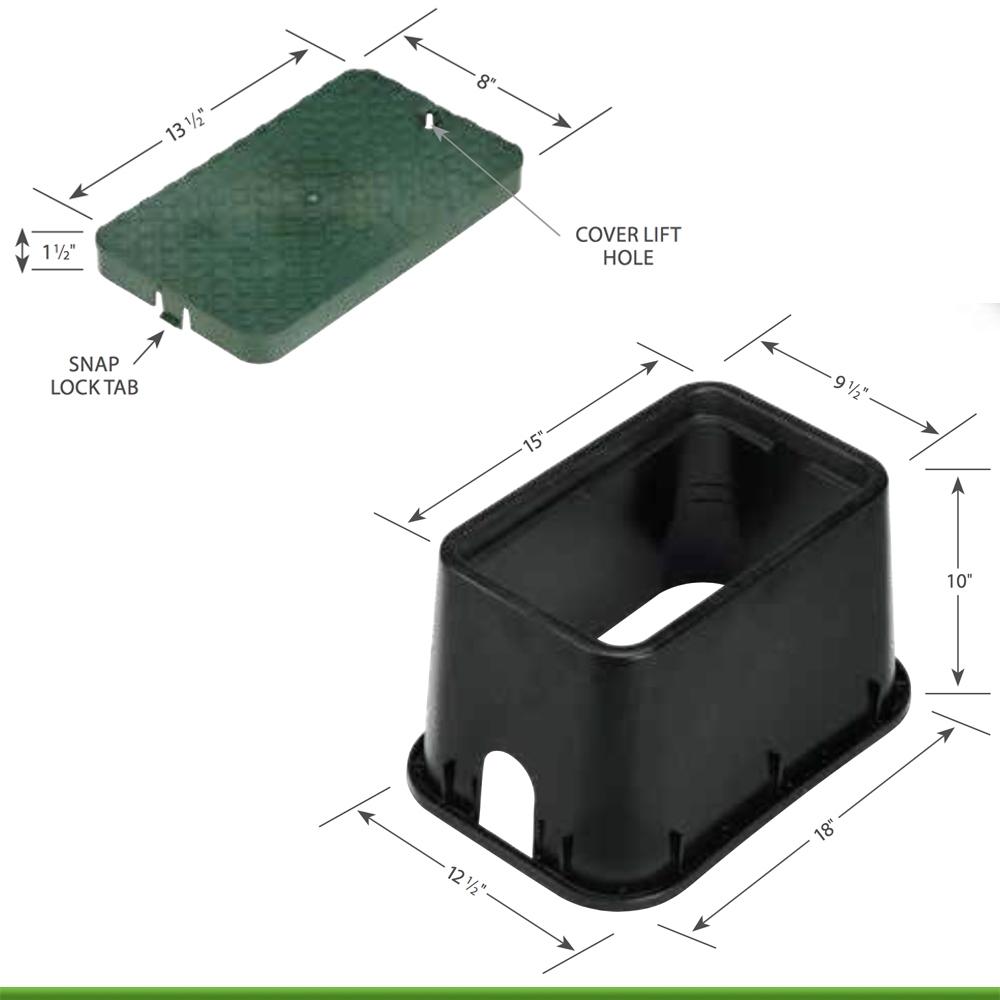 Rain Bird PVB Series PVBMST Mini-Standard Rectangular Valve Box with Green Lid