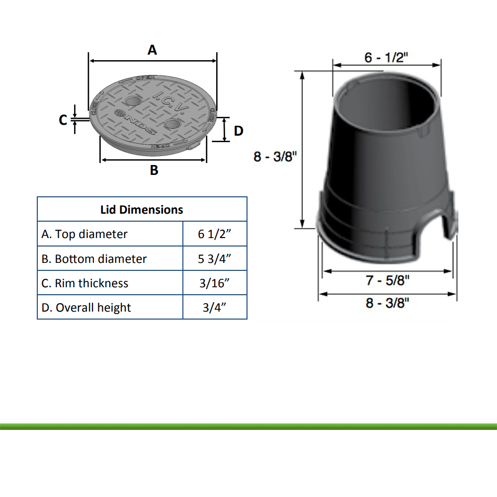 NDS-107C 6 - 1/2 inch Round Valve Box Overlapping Cover (Cover Only)